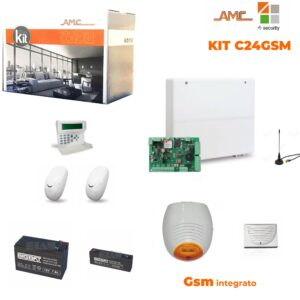 AMC Kit C24GSM Plus Centrale 8/24 Zone K-RADIO 400, Sensori, Sirene e Batterie
